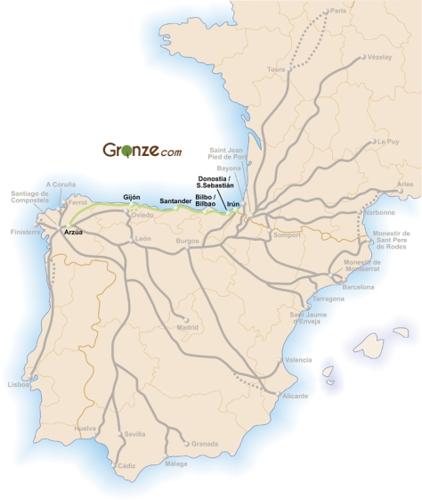 El Camino del Norte map